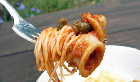Spicy Calamari & Capers Pasta, Honest Fare by Gabrielle Arnold