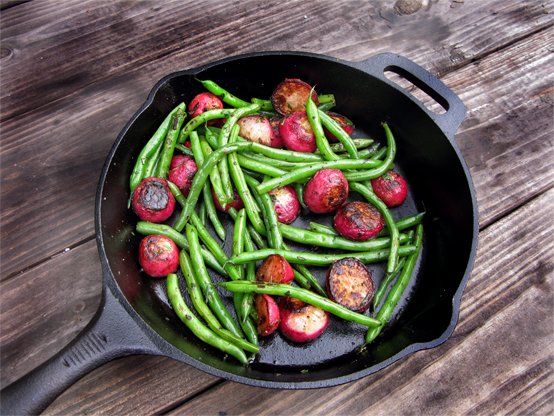 Braised Radishes & Green Beans, Honest Fare by Gabrielle Arnold