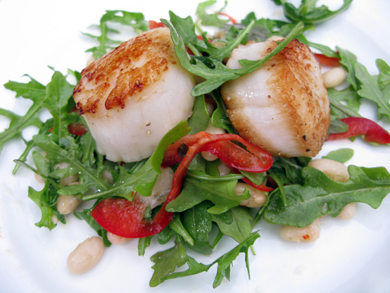 Seared scallops over white bean and arugula salad, Honest Fare by Gabrielle Arnold