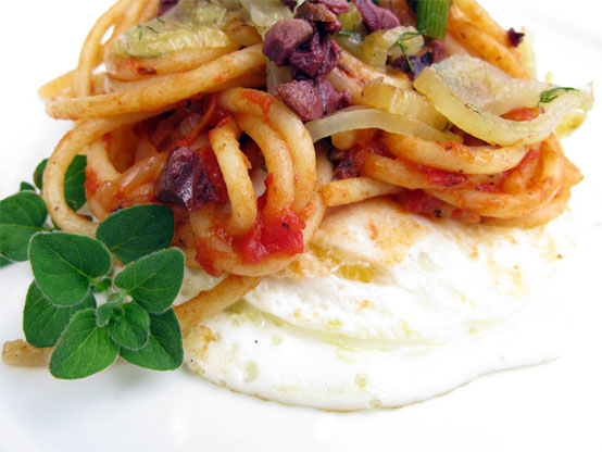 Fennel & Kalamata Olive Pasta on Fried Egg, Honest Fare by Gabrielle Arnold