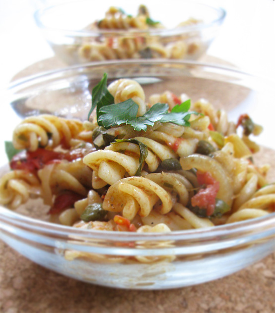 Fusilli pasta with Anchovy Caper Sauce, Honest Fare by Gabrielle Arnold