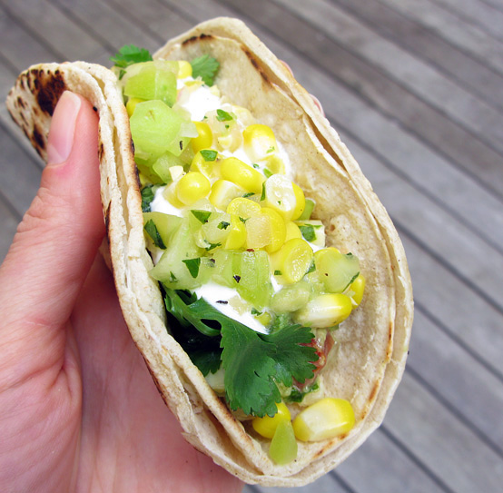 Green Tomato & Corn Tacodillas, Honest Fare by Gabrielle Arnold