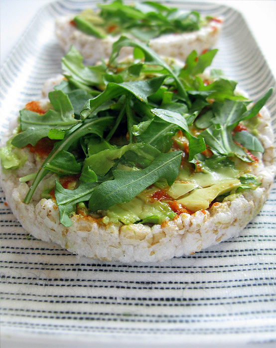 Avocado on top of rice cake is something you should try.