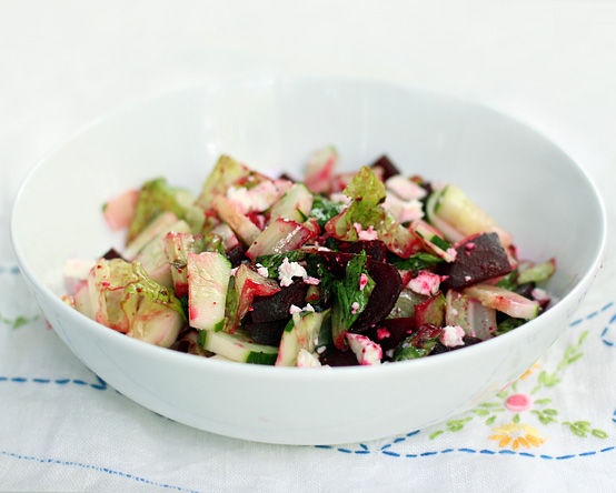 Warm Beet & Romaine Salad with Feta, Honest Fare by Gabrielle Arnold