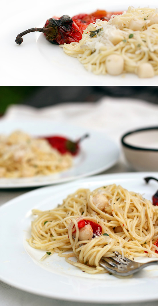 Simple Scallop Pasta with Roasted Sweet Pepper, Honest Fare by Gabrielle Arnold