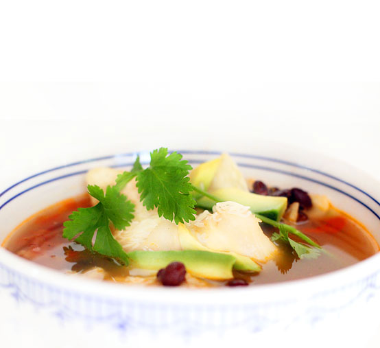 Yuca & Avocado Tortilla Soup, Honest Fare by Gabrielle Arnold