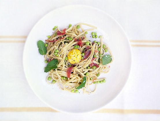Fresh Mint & Pea Pasta Alla Carbonara, Honest Fare by Gabrielle Arnold