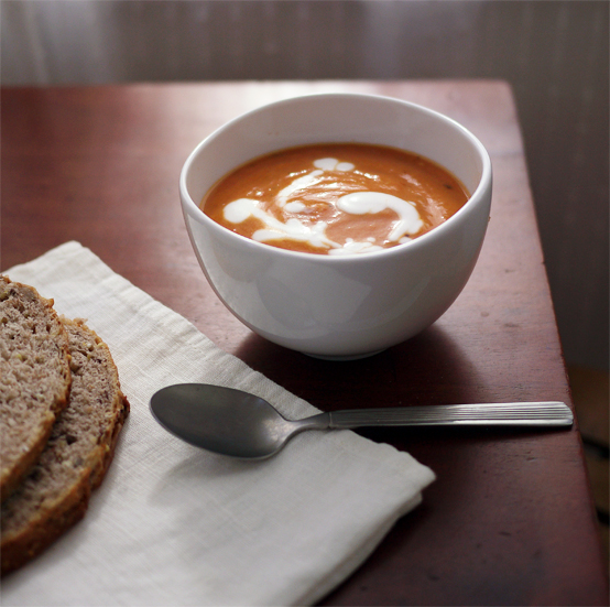 Tomato, Squash & Coconut Milk Bisque (Vegan), Honest Fare by Gabrielle Arnold