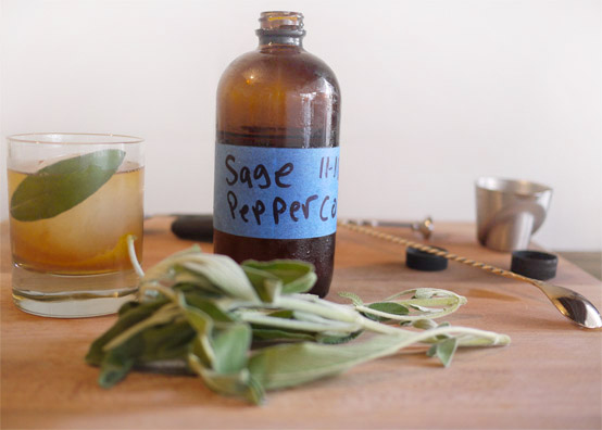 Perfect Thanksgiving Cocktail:  Sage and  Peppercorn Old Fashioned, Honest Fare by Gabrielle Arnold