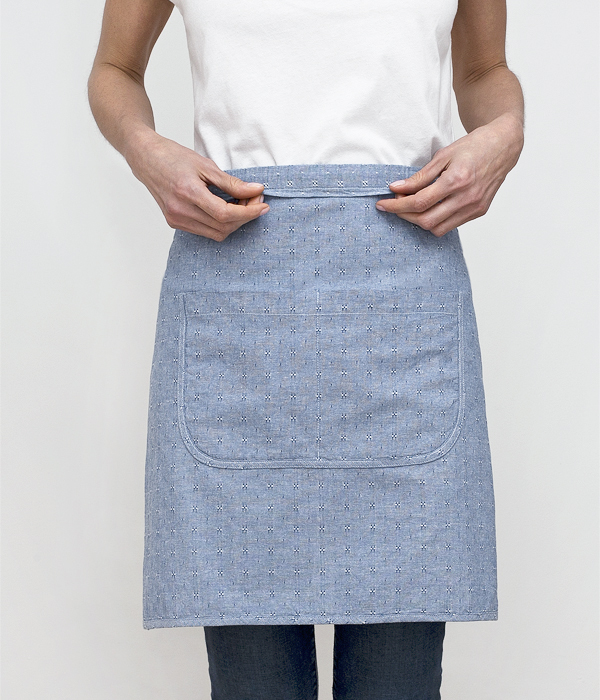 cafe apron-blue dobby-waistline-honest fare apron collection