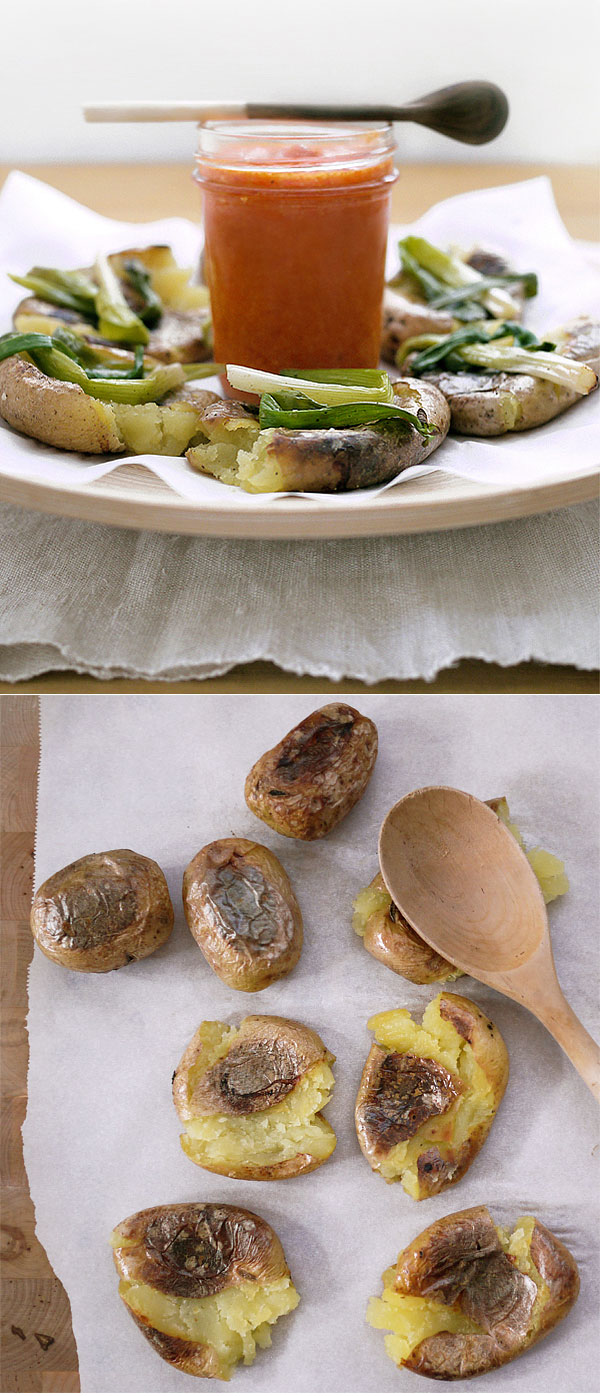 Crispy Smashed Potatoes. Sweet yukon gold potatoes, wilted green ...