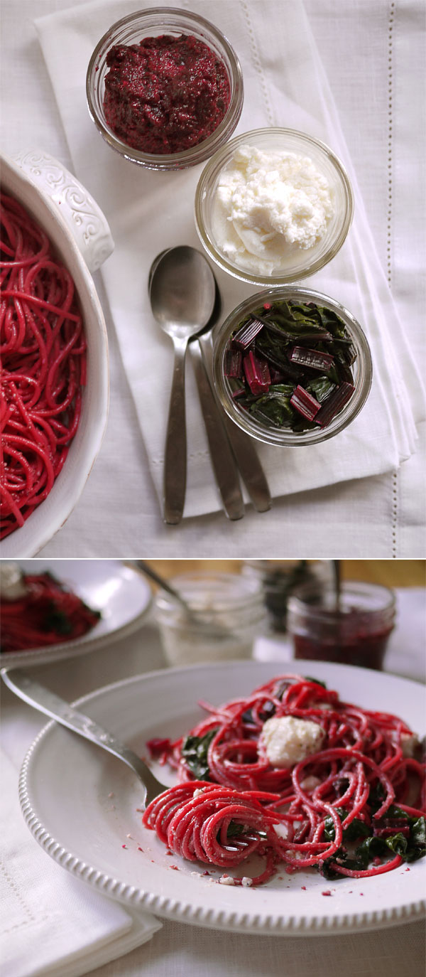 beet pasta jars on side honest fare