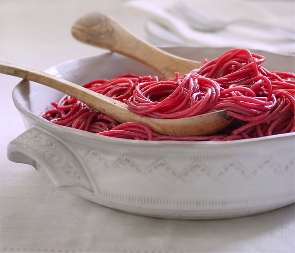 Beet Pesto Pasta. And a giveaway for this lovely ceramic dish!, Honest Fare by Gabrielle Arnold