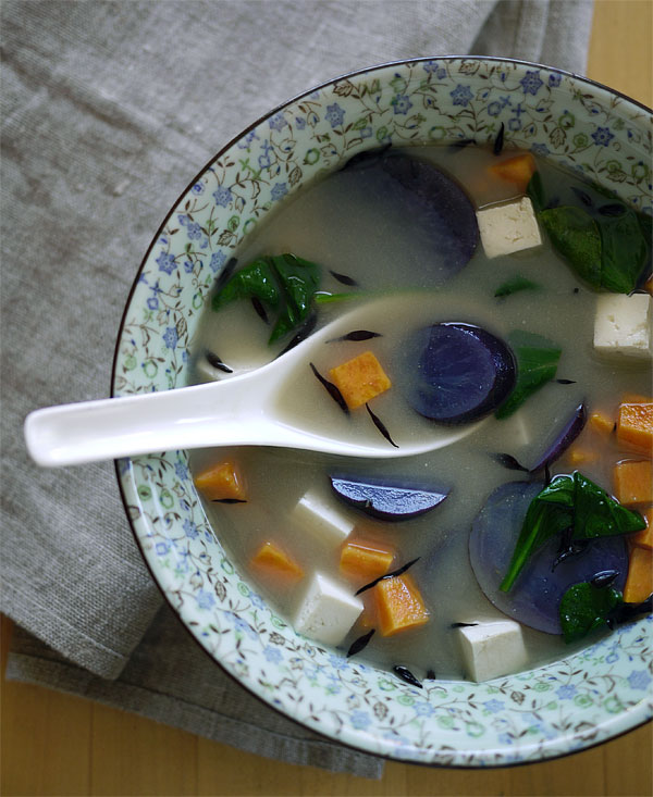 15-minute miso veggie soup. Purple & sweet potatoes, tofu, spinach and ...