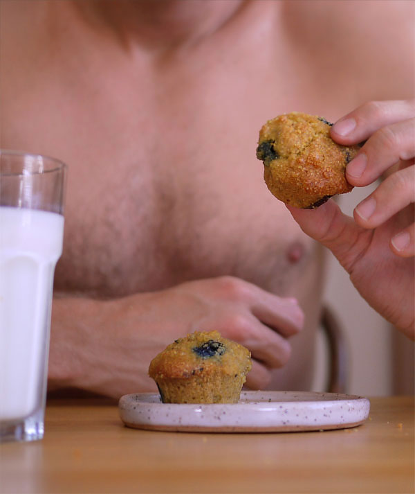 Sexy blueberry almond & corn muffins., Honest Fare by Gabrielle Arnold