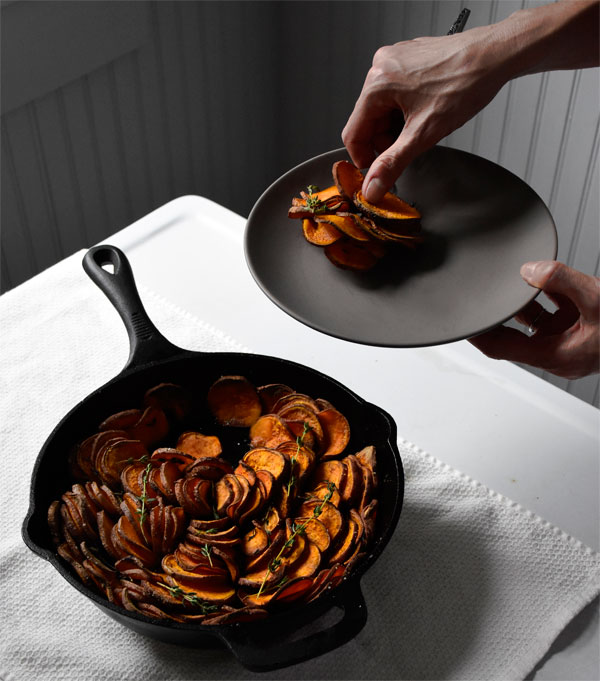 Crispy Skillet Sweet Potatoes with Thyme, Honest Fare by Gabrielle Arnold