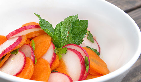 Raw Carrot, Radish & Herb Salad, Honest Fare by Gabrielle Arnold