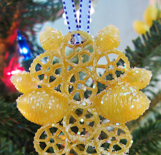 Macaroni Ornaments on Tree by HonestFare.com