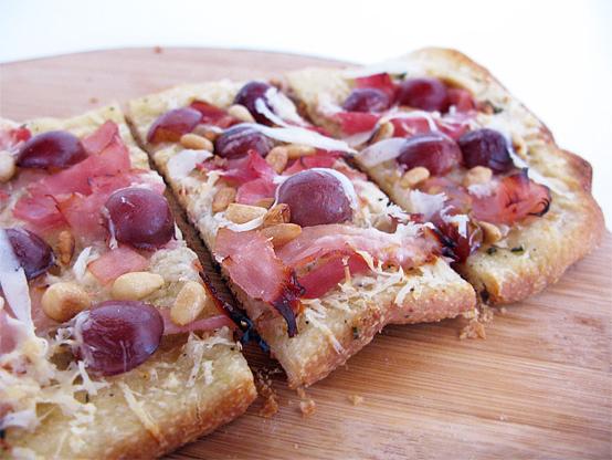 Grape, Pecorino Romano & Pine Nut Flatbread, Honest Fare by Gabrielle Arnold