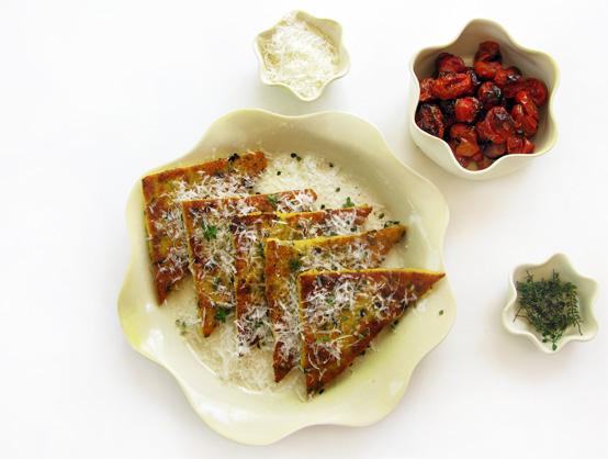 Mushroom & Herb Polenta Cakes, Honest Fare by Gabrielle Arnold