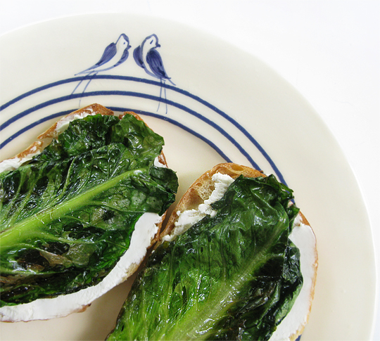 Braised Romaine Lettuce & Goat Cheese Crostini, Honest Fare by Gabrielle Arnold