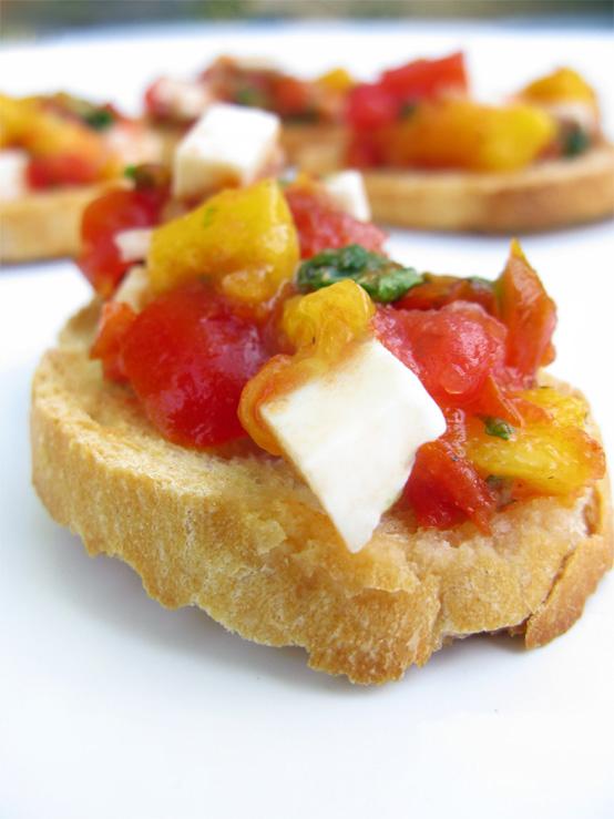 Hello, from Florida: Mango, tomato & queso blanco bruschetta, Honest Fare by Gabrielle Arnold
