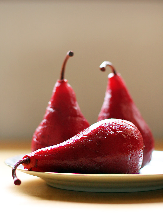 Pomegranate Poached Pears, Honest Fare by Gabrielle Arnold