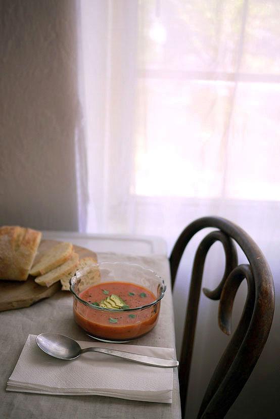 Watermelon & Avocado Gazpacho., Honest Fare by Gabrielle Arnold