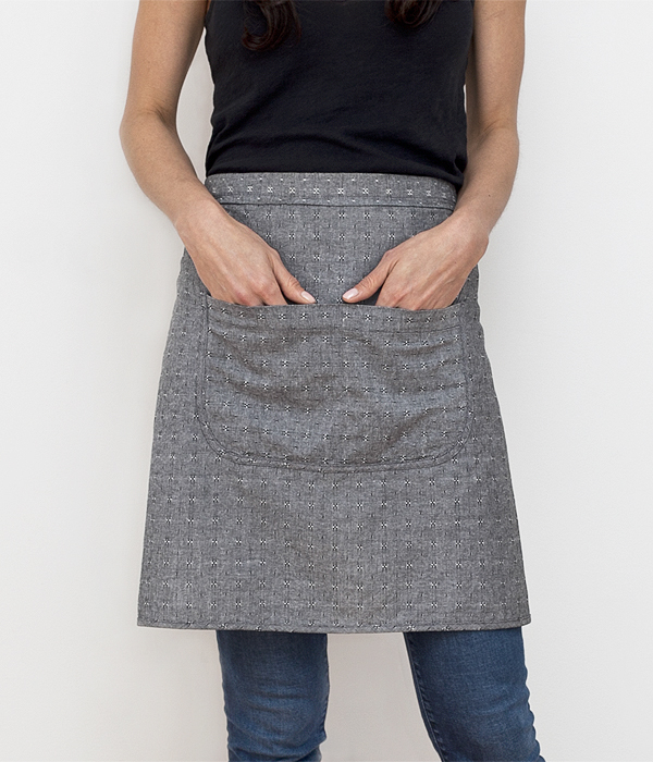 cafe apron-black dobby-pockets-honest fare apron collection