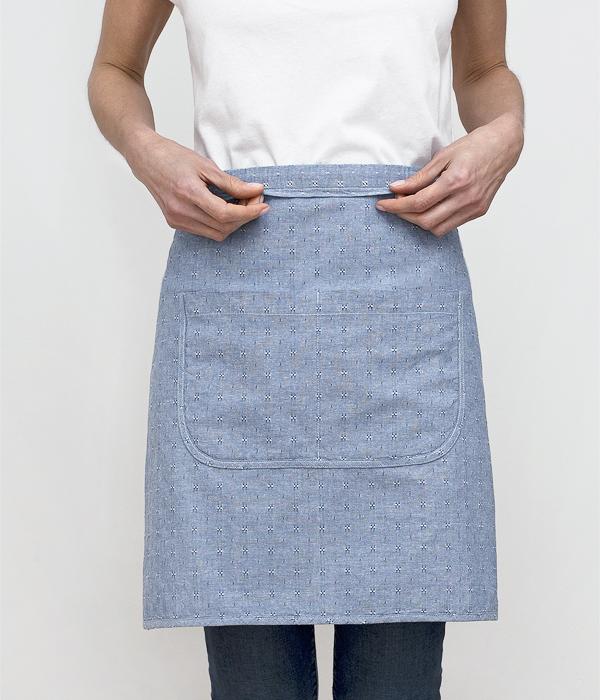 cafe apron-blue dobby-waistline-honest fare apron collection