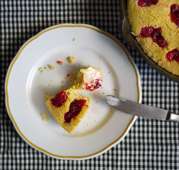 cranberry cornbread with butter