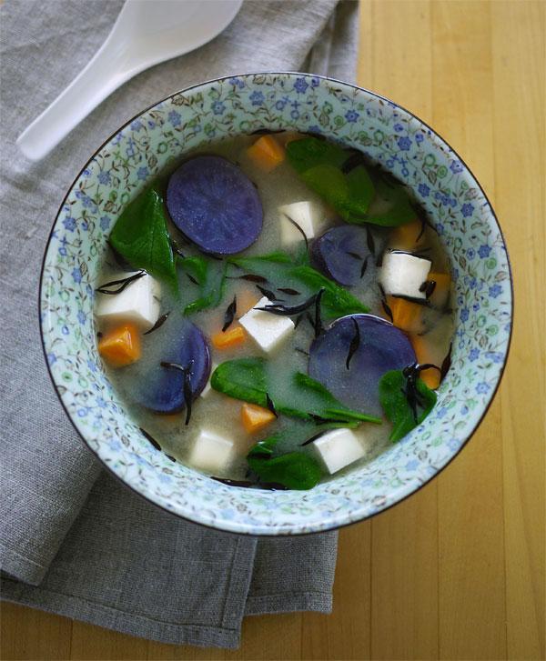 15-minute miso veggie soup., Honest Fare by Gabrielle Arnold