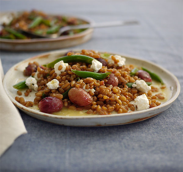 roasted grap wheat berry salad low
