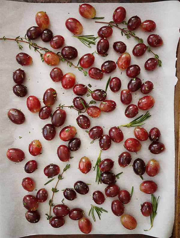roasting grapes herbs prepped honestfare.com
